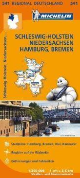 Michelin Karte Schleswig-Holstein, Niedersachsen, Hamburg, Bremen. Allemagne Nord-Ouest