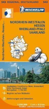 Michelin Karte Nordrhein-Westfalen, Hessen, Rheinland-Pfalz, Saarland. Allemagne Centre-Ouest