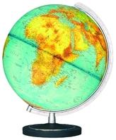 Duplex Leuchtglobus, Kunststofffuß, silberfarbener Halbmeridian, Durchmesser 34 cm