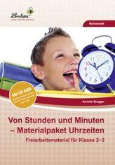 Von Stunden und Minuten - Materialpaket Uhrzeiten, m. CD-ROM