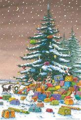Kleiner Eisbär unter dem Weihnachtsbaum Adventskalender