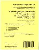 Ergänzungsbogen SteuerRecht, Griffregister