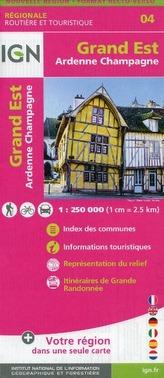 IGN Karte, Régionale Routière et Touristique Grand Est (Ardennes-Champagne) Recto/verso