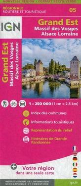 IGN Karte, Régionale Routière et Touristique Grand Est (Massif des Vosges Alsace Lorraine) Recto/verso