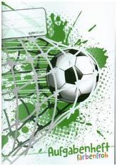 Lernfreunde Aufgabenheft Farbenfroh A5 1 Schuljahr Motiv Fußball EH, Zusatz sortenrein