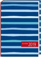 Kalenderbuch Streifen blau 2019