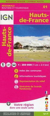 IGN Karte, Régionale Routière et Touristique Hauts-de-France